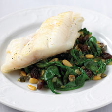 White Fish with Spinach and Pine Nuts photo