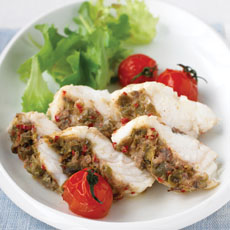 Roasted Monkfish with Chiles, Tomatoes, Anchovies, and Capers photo