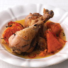 Garlic and Chile Chicken with Honey-sweet Potatoes photo