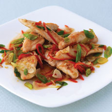 Chicken Stir-fried with Scallions, Basil, and Lemon Grass photo