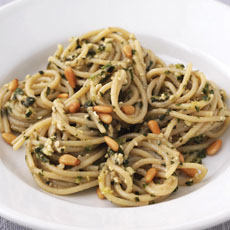 Pasta with Pesto and Pine Nuts photo