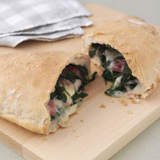 Calzone with Cheese, Ham, and Spinach photo