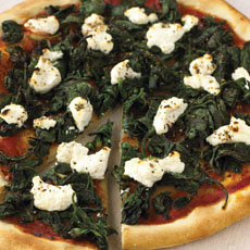 Pizza with Spinach and Ricotta Cheese photo