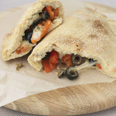 Calzone with Peppers, Capers, and Olives photo