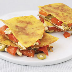 Quesadilla with Feta Cheese, Green Olives, and Peppers photo