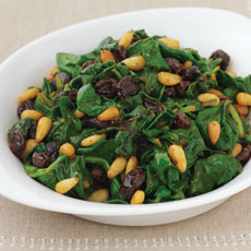 Spinach, Pine Nuts, and Raisins photo