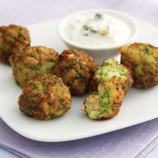 Shrimp and Zucchini Balls with Caper Cream photo