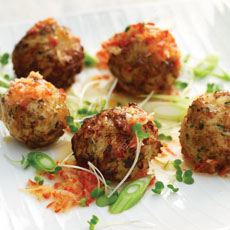 Spicy Chicken Balls with Chile and Ginger Sauce photo