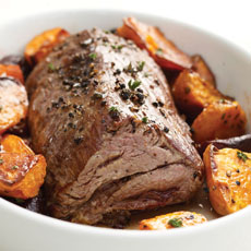 Peppered Beef with Roasted Beets and Balsamic Vinegar photo