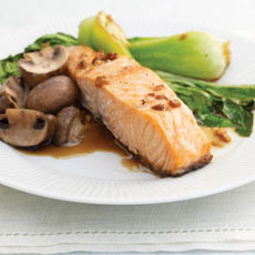Salmon with Mushrooms and Bok Choy photo