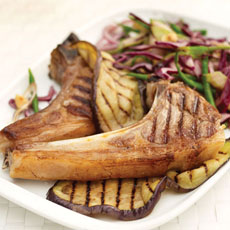 Grilled Lamb Cutlets and Eggplant with Red Cabbage Slaw photo