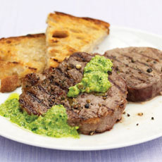 Pepper Steak with Parsley and Almond Pesto photo