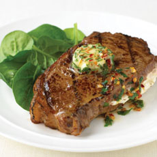 Stuffed Sirloin Steak with Chile and Parsley Butter photo