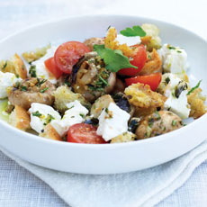 Grilled Mushrooms with Croutons, Cherry Tomatoes, and Feta photo