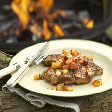 Latin-Style Grilled Pork Chops with Peach-Chipotle Salsa photo