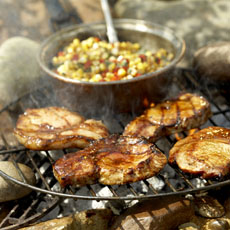 Molasses & Chile-Glazed Pork Medallions with Smoky Corn-Red Pepper Relish photo