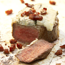 Grilled Filet Mignon with Gorgonzola, Pancetta, and Peach-Balsamic Jam photo