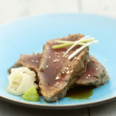 Grill-Seared Double-Thick Tuna Steaks with Pickled Ginger, Wasabi, and Soy photo