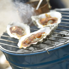 Grilled Oysters on the Half-Shell with Pancetta and Barbecue Sauce photo