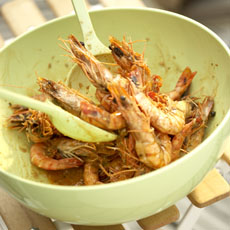 Grilled Peel 'n' Eat Shrimp with Old Bay, Basil, and Lemon photo