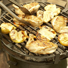 Grilled Bone-in Chicken Breasts with Grilled Apples and Golden Raisin Vinaigrette photo
