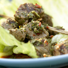 Grilled Sirloin Skewers with Aromatic Herbs, Lime, and Chiles photo
