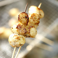 Grilled Scallop Skewers with Pineapple-Curry Relish photo