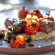 Open-Faced Grilled Sirloin and Tomato Sandwiches photo