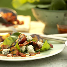 Spinach and Grilled Peach Salad with Blue Cheese, Bacon, and Sweet-and-Sour Dressing photo