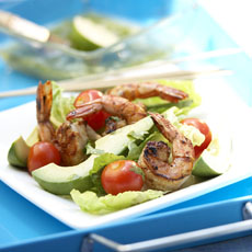 Romaine and Avocado Salad with Grilled Chile Shrimp and Lime-Cumin Dressing photo