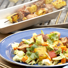 Latin-Style Cabbage Salad with Grilled Pork and Pineapple photo