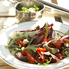Grilled Artichoke, Arugula, and Radicchio Salad with Lemon-Feta Dressing photo