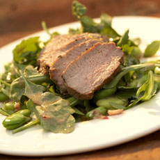 Marjoram-Grilled Lamb with Arugula, Lima Beans, and Port-Mustard Dressing photo