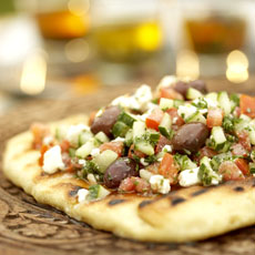 Mediterranean Chopped Salad on Grill Bread photo