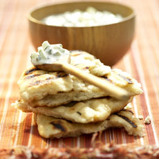 Cucumbers with Mint, Cumin, and Yogurt with Grill Bread photo