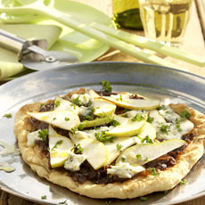 Blue Cheese, Pear, and Caramelized Onion Pizzas photo