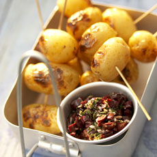 Grilled New Potatoes with Rosemary, Garlic, and Black Olives photo