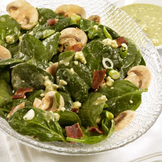 Spinach and Bacon Salad with Blue Cheese Dressing photo