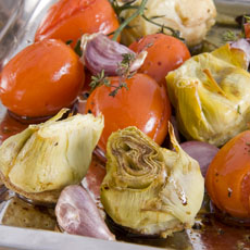 Roast Artichokes with Tomato and Garlic photo