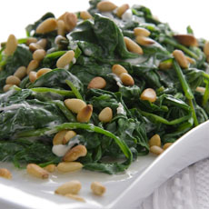 Creamed Spinach with Pine Nuts photo