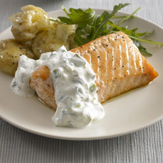 Baked Salmon with Cucumber Dill Sauce photo