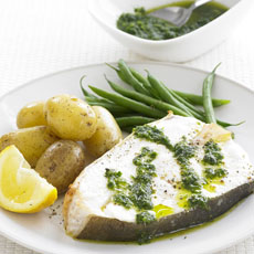Grilled Halibut with Green Sauce photo