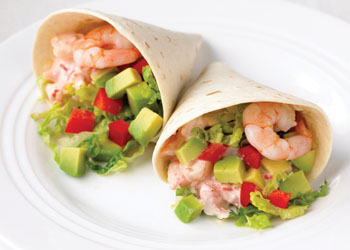 Shrimp Cocktail-style Wraps with Avocado and Red Pepper Mayonnaise