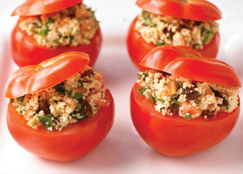 Fresh Tomatoes Stuffed with Fruity Couscous