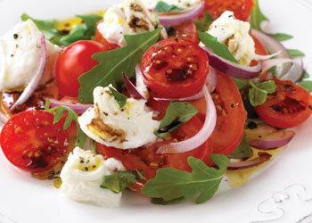 Tomato, Red Onion, and Mozzarella Salad