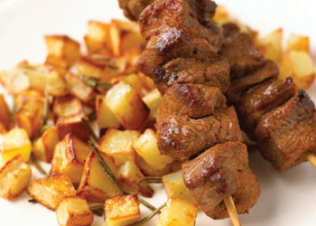 Skewered Lamb with Crispy Rosemary Potatoes