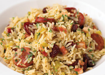 Pilaf with Chorizo, Pancetta, and Cranberries