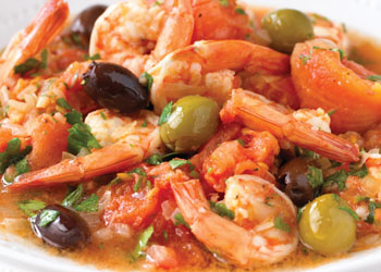 Pan-fried Shrimp, Olives, and Tomatoes