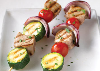 Tuna, Tomato, and Zucchini Skewers