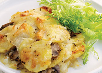 Cheesy Potato and Mushroom Gratin